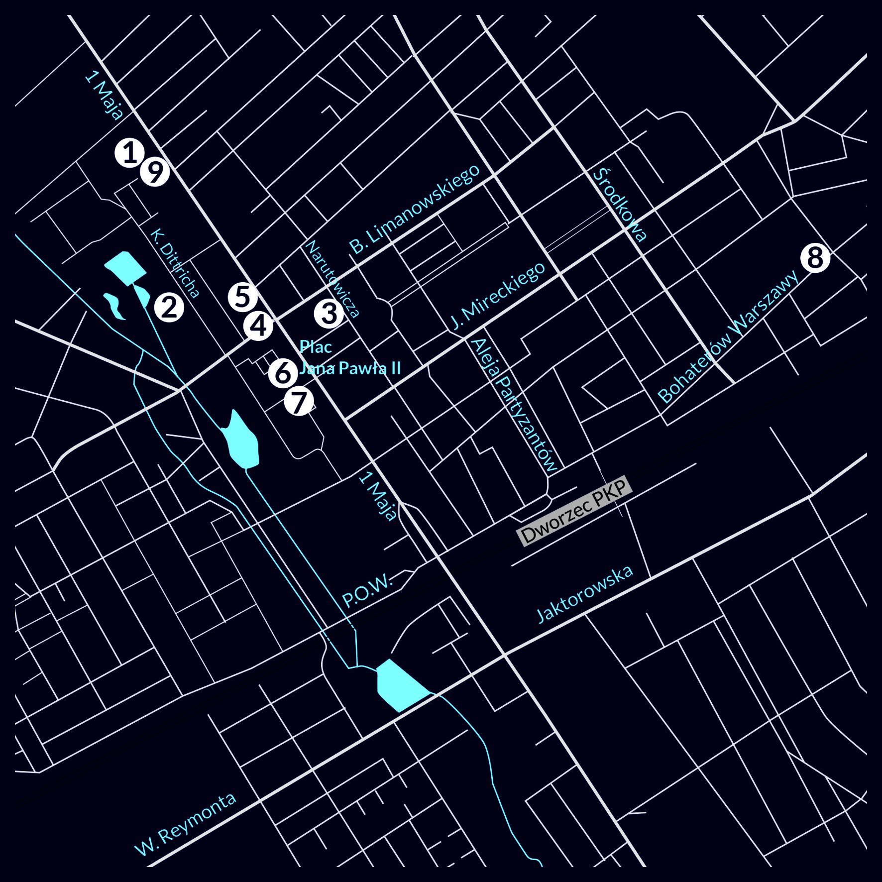 noc muzeów mapa